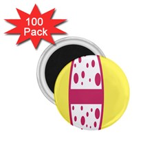 Easter Egg Shapes Large Wave Pink Yellow Circle Dalmation 1 75  Magnets (100 Pack)