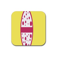 Easter Egg Shapes Large Wave Pink Yellow Circle Dalmation Rubber Square Coaster (4 Pack)  by Alisyart
