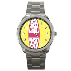 Easter Egg Shapes Large Wave Pink Yellow Circle Dalmation Sport Metal Watch by Alisyart