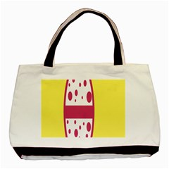 Easter Egg Shapes Large Wave Pink Yellow Circle Dalmation Basic Tote Bag (two Sides) by Alisyart