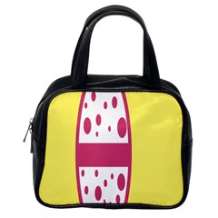 Easter Egg Shapes Large Wave Pink Yellow Circle Dalmation Classic Handbags (one Side) by Alisyart