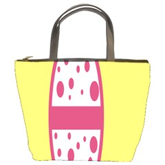 Easter Egg Shapes Large Wave Pink Yellow Circle Dalmation Bucket Bags