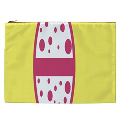 Easter Egg Shapes Large Wave Pink Yellow Circle Dalmation Cosmetic Bag (xxl)