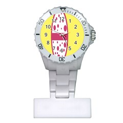 Easter Egg Shapes Large Wave Pink Yellow Circle Dalmation Plastic Nurses Watch by Alisyart