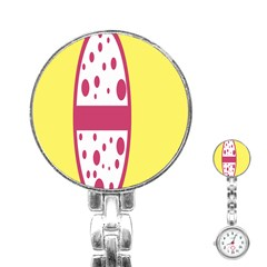 Easter Egg Shapes Large Wave Pink Yellow Circle Dalmation Stainless Steel Nurses Watch by Alisyart