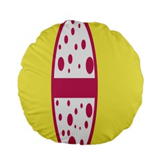 Easter Egg Shapes Large Wave Pink Yellow Circle Dalmation Standard 15  Premium Flano Round Cushions