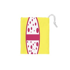 Easter Egg Shapes Large Wave Pink Yellow Circle Dalmation Drawstring Pouches (xs)  by Alisyart