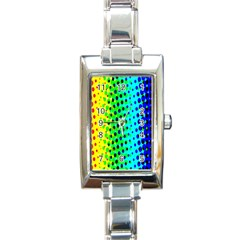 Comic Strip Dots Circle Rainbow Rectangle Italian Charm Watch by Alisyart