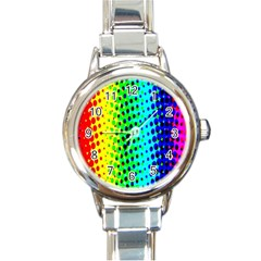 Comic Strip Dots Circle Rainbow Round Italian Charm Watch by Alisyart