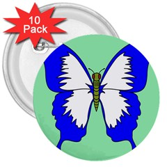 Draw Butterfly Green Blue White Fly Animals 3  Buttons (10 Pack)