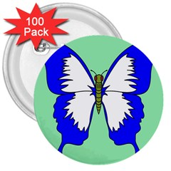 Draw Butterfly Green Blue White Fly Animals 3  Buttons (100 Pack)