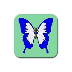 Draw Butterfly Green Blue White Fly Animals Rubber Coaster (square)