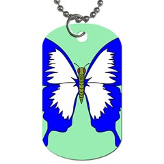 Draw Butterfly Green Blue White Fly Animals Dog Tag (two Sides) by Alisyart