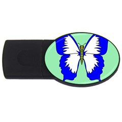 Draw Butterfly Green Blue White Fly Animals Usb Flash Drive Oval (2 Gb)