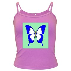Draw Butterfly Green Blue White Fly Animals Dark Spaghetti Tank by Alisyart