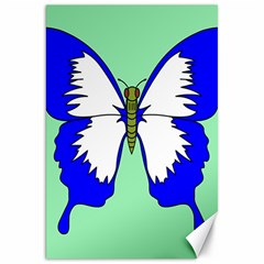 Draw Butterfly Green Blue White Fly Animals Canvas 20  X 30   by Alisyart