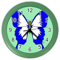 Draw Butterfly Green Blue White Fly Animals Color Wall Clocks by Alisyart