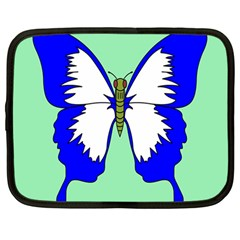 Draw Butterfly Green Blue White Fly Animals Netbook Case (large) by Alisyart