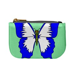 Draw Butterfly Green Blue White Fly Animals Mini Coin Purses