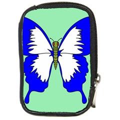 Draw Butterfly Green Blue White Fly Animals Compact Camera Cases