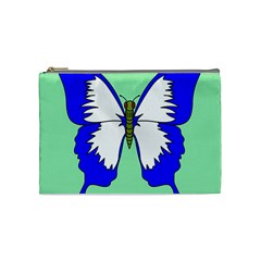 Draw Butterfly Green Blue White Fly Animals Cosmetic Bag (medium)  by Alisyart