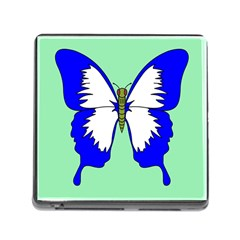 Draw Butterfly Green Blue White Fly Animals Memory Card Reader (square) by Alisyart