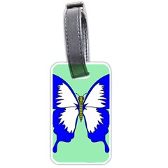 Draw Butterfly Green Blue White Fly Animals Luggage Tags (one Side)