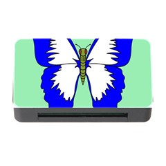 Draw Butterfly Green Blue White Fly Animals Memory Card Reader With Cf by Alisyart
