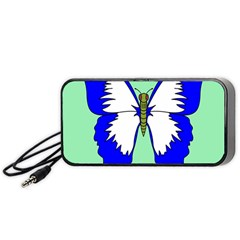 Draw Butterfly Green Blue White Fly Animals Portable Speaker (black) by Alisyart