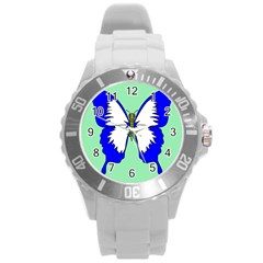 Draw Butterfly Green Blue White Fly Animals Round Plastic Sport Watch (l) by Alisyart