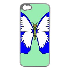 Draw Butterfly Green Blue White Fly Animals Apple Iphone 5 Case (silver)