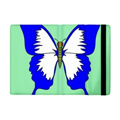 Draw Butterfly Green Blue White Fly Animals Apple Ipad Mini Flip Case by Alisyart