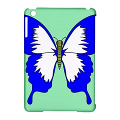 Draw Butterfly Green Blue White Fly Animals Apple Ipad Mini Hardshell Case (compatible With Smart Cover)