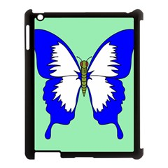 Draw Butterfly Green Blue White Fly Animals Apple Ipad 3/4 Case (black) by Alisyart