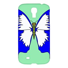 Draw Butterfly Green Blue White Fly Animals Samsung Galaxy S4 I9500/i9505 Hardshell Case