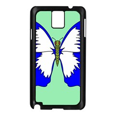 Draw Butterfly Green Blue White Fly Animals Samsung Galaxy Note 3 N9005 Case (black) by Alisyart