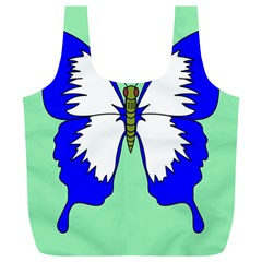 Draw Butterfly Green Blue White Fly Animals Full Print Recycle Bags (l)