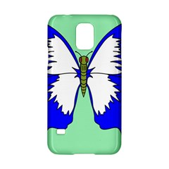 Draw Butterfly Green Blue White Fly Animals Samsung Galaxy S5 Hardshell Case