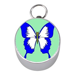 Draw Butterfly Green Blue White Fly Animals Mini Silver Compasses by Alisyart