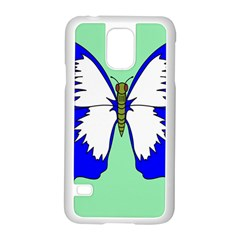 Draw Butterfly Green Blue White Fly Animals Samsung Galaxy S5 Case (white)