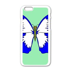 Draw Butterfly Green Blue White Fly Animals Apple Iphone 6/6s White Enamel Case by Alisyart