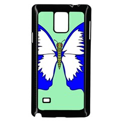 Draw Butterfly Green Blue White Fly Animals Samsung Galaxy Note 4 Case (black) by Alisyart