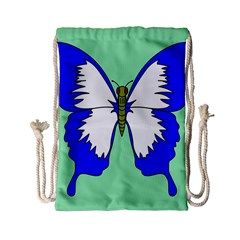 Draw Butterfly Green Blue White Fly Animals Drawstring Bag (small) by Alisyart