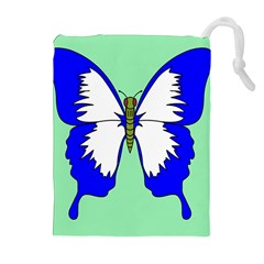 Draw Butterfly Green Blue White Fly Animals Drawstring Pouches (extra Large) by Alisyart