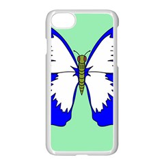 Draw Butterfly Green Blue White Fly Animals Apple Iphone 7 Seamless Case (white)
