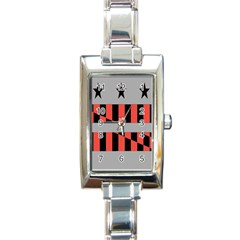Falg Sign Star Line Black Red Rectangle Italian Charm Watch by Alisyart