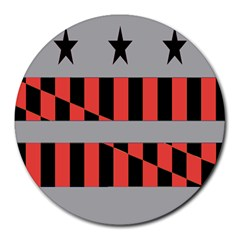 Falg Sign Star Line Black Red Round Mousepads by Alisyart