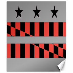 Falg Sign Star Line Black Red Canvas 8  X 10