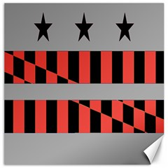 Falg Sign Star Line Black Red Canvas 16  X 16   by Alisyart