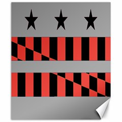 Falg Sign Star Line Black Red Canvas 20  X 24